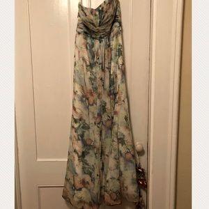 Long Chiffon Printed Strapless Dress
